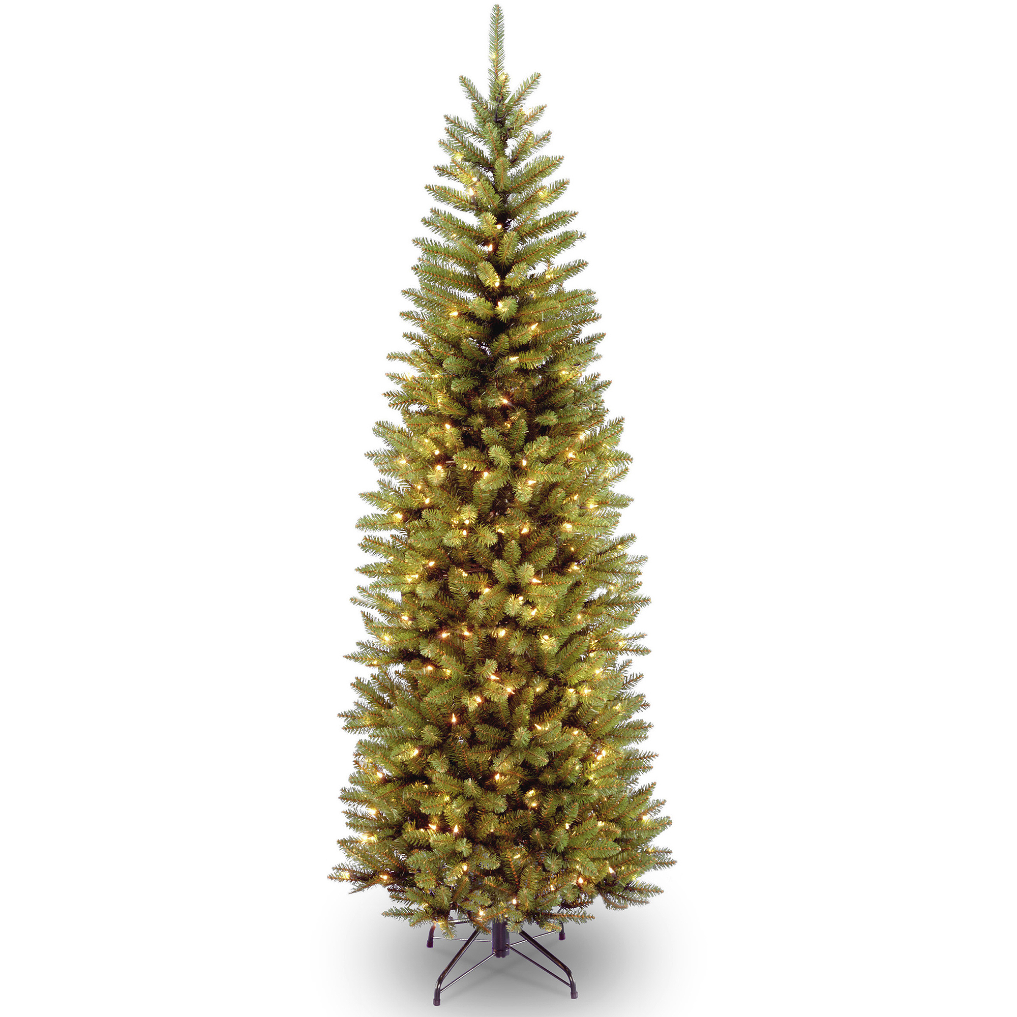 National Tree Pre-Lit 6-1/2' Kingswood Fir Hinged Pencil Artificial Christmas Tree with 250 Clear Lights