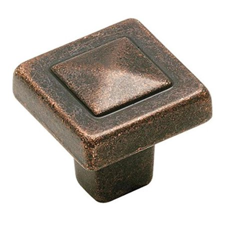 BP4429-WI Forgings Pyramid 1-1/8-Inch Square Knob, Wrought Iron, 1-1/8 in (29 mm) Length Knob By Amerock Amerock Natural Elegance Wrought Iron