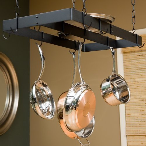 The Gourmet Rectangle Pot Rack with Center Bar
