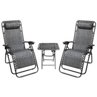 Ktaxon Folding Chaise Lounge 2PCS Zero Gravity Lounge Chair Grey with Portable Cup Holder Table