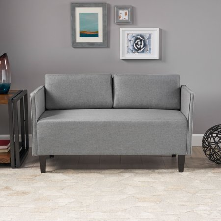 Noble House Desirae Modern Fabric Upholstered Loveseat with Piped Edges, Gray