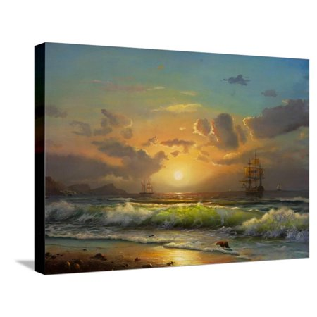 Sailboat Against A Background Of Sea Sunset, Oil Painting Stretched Canvas Print Wall Art By Lilun Sea Ray Boat Canvas