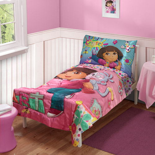 "DISCONTINUED - Nickelodeon Dora the Explorer ""Let's Create"" 4-Piece Toddler Bedding Set"