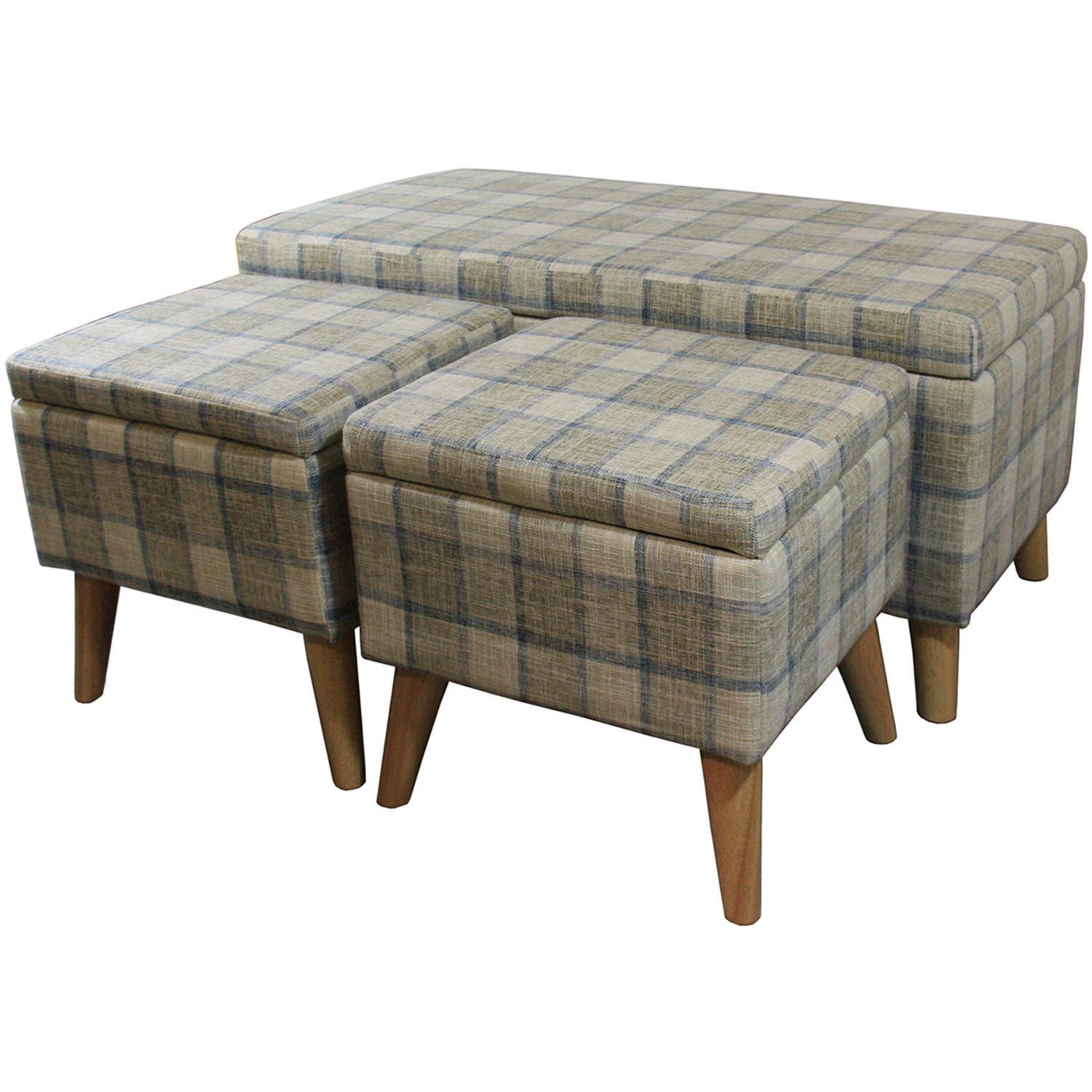 "18"" Grey Plaid Storage Bench plus 2 Storage Ottoman Seating"