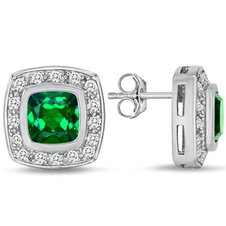 Star K 7mm Cushion Cut Simulated Emerald Halo Earrings Studs in Sterling Silver 7mm May Birthstone Earrings