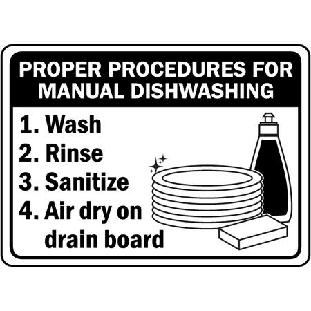 Manual Dishwashing Procedures Safety Notice Signs For Work