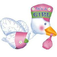 """Stork It's A Girl Baby Shower Foil Multi Balloon 32"""""""
