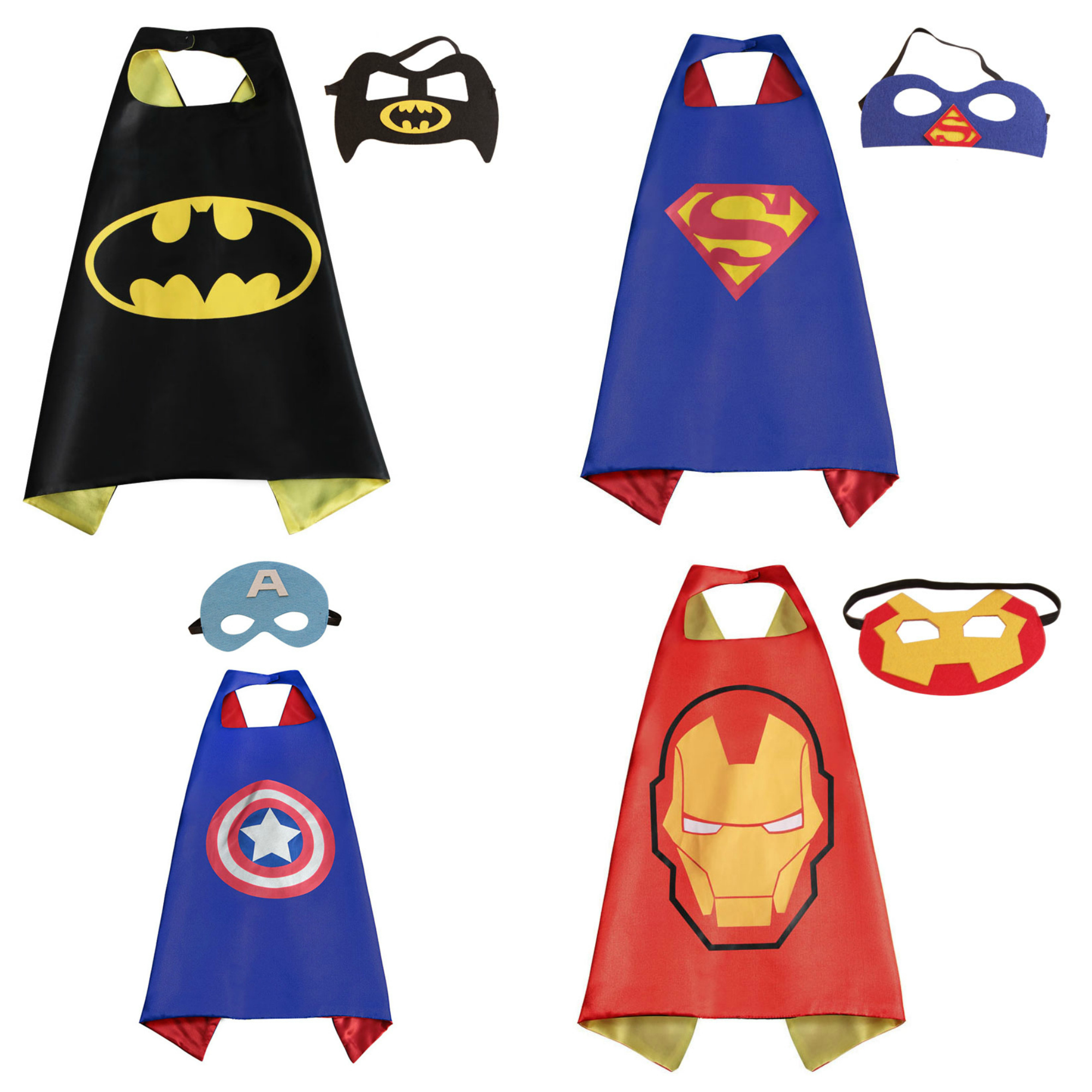 4 Set Superhero  Costumes - Capes and Masks with Gift Box by Superheroes