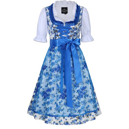 Women's German Dirndl Dress 3 Pieces Oktoberfest Costumes with Lace Apron (Halloween Dirndl Dress)