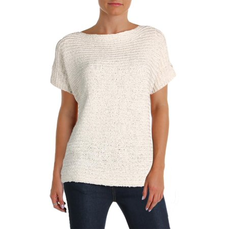 Lauren Ralph Lauren Womens Darbye Tape Crochet Short Sleeves Pullover Sweater