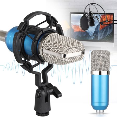 3.5mm XLR Cable Streaming Podcast PC Microphone, EEEkit Professional Studio Cardioid Condenser Mic Kit with Stand Shock Mount for Skype Youtuber Gaming Recording 001 Mic Kit
