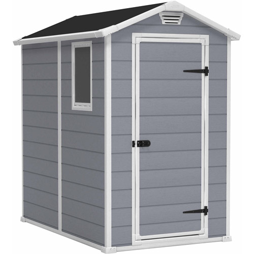 Keter Manor 4' x 6' Resin Storage Shed, All-Weather Plastic Outdoor Storage, Gray White by Generic