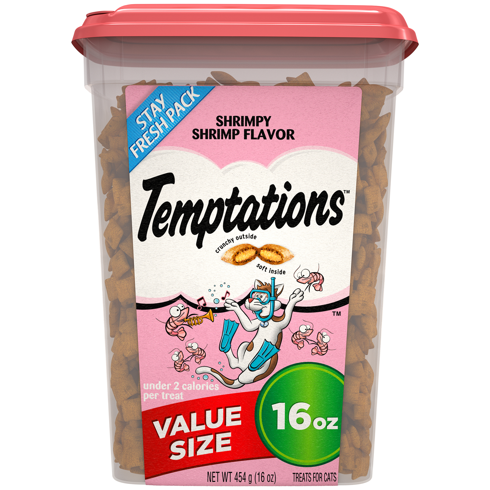 TEMPTATIONS Cat Treats Shrimpy Shrimp Flavor, 16 oz. Tub