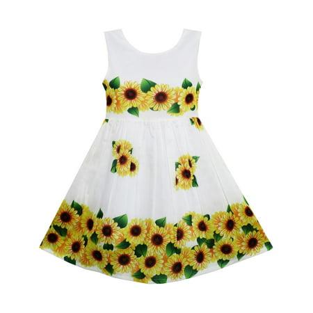 8e059ad9343 Sunny Fashion - Girls Dress Yellow Sunflower Green Leaves Sleeveless ...