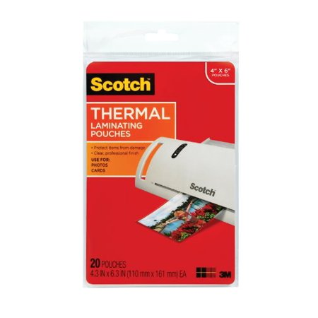 Scotch Thermal Laminating Pouch   4   Width X 6   Length   Photo Safe   20   Pack   Clear  Tp590020
