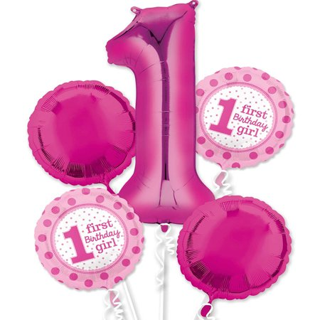 Pink Girl 1st Birthday Foil Balloon - 1st Birthday Balloons