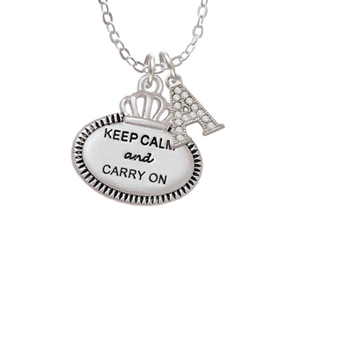"""Keep Calm and Carry On - A - Crystal Initial Sophia Necklace, 18""""+1"""""""