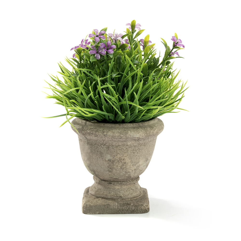 Mini Lifelike Artificial Plant Fake Green Grass and Purple Flowers Arrangements with Trophy Design Paper Pulp Pot