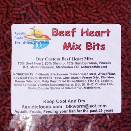 Aquatic Foods Beef Heart Mix Sinking Bits for Discus, Cichlids, Bottom Fish, All Tropical Fish - 1/8-lb Caribsea African Cichlid Mix