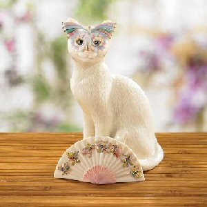 Lenox Animal Sculptures 6405682 Masquerade Masked Cat and Colorful Fan Figure