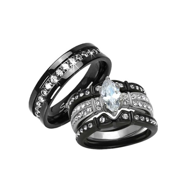 Marimor Jewelry His Hers 4 Pc Black Stainless Steel Titanium