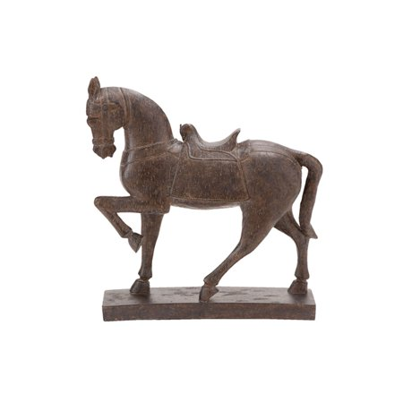 Decmode Traditional 15 Inch Resin Prancing Horse Sculpture, Brown