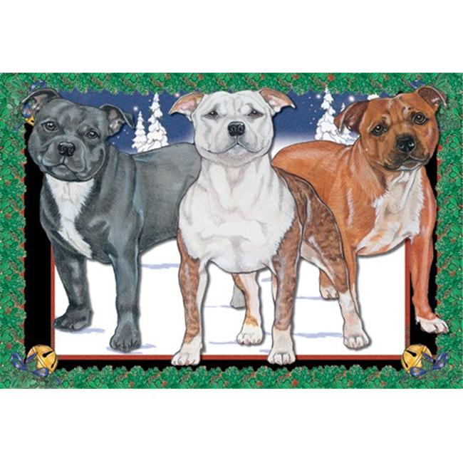 Pipsqueak Productions C512 Holiday Boxed Cards- Staffordshire Bull Terrier