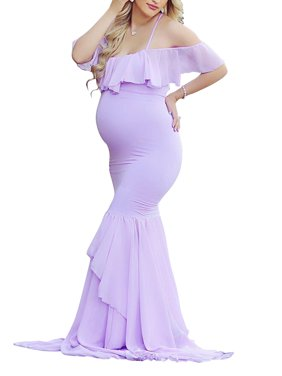 Jchiup Maternity Elegant Ruffle Off Shoulder Mermaid Gown Maxi Photography Dress