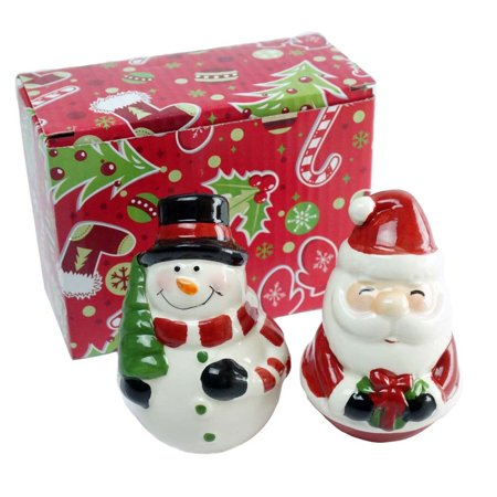 Santa and Snowman Christmas Ceramic Salt & Pepper Shaker Set