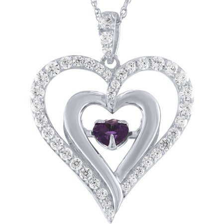 Amethyst and CZ Moving Heart Pendant in Sterling Silver with Chain, 18