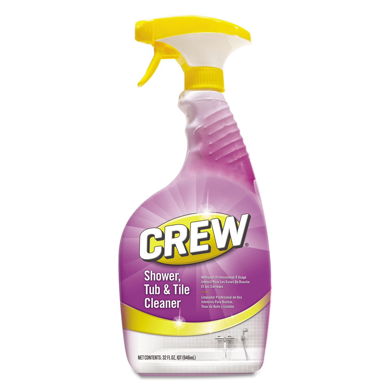 Crew Shower Tub and Tile Cleaner, Fresh Scent, 32 oz Spray Bottle, 8/Carton