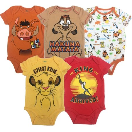 Disney Lion King Baby Boys' 5 Pack Bodysuits Simba Timon Pumbaa, 3-6 - Lion Onesie Adult