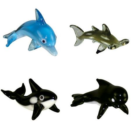 BrainStorm Looking Glass Miniature Glass Figurines, 4-Pack, Bottlenose Dolphin/Hammerhead Shark/Orca/Pilot Whale (Miniature Figurines)