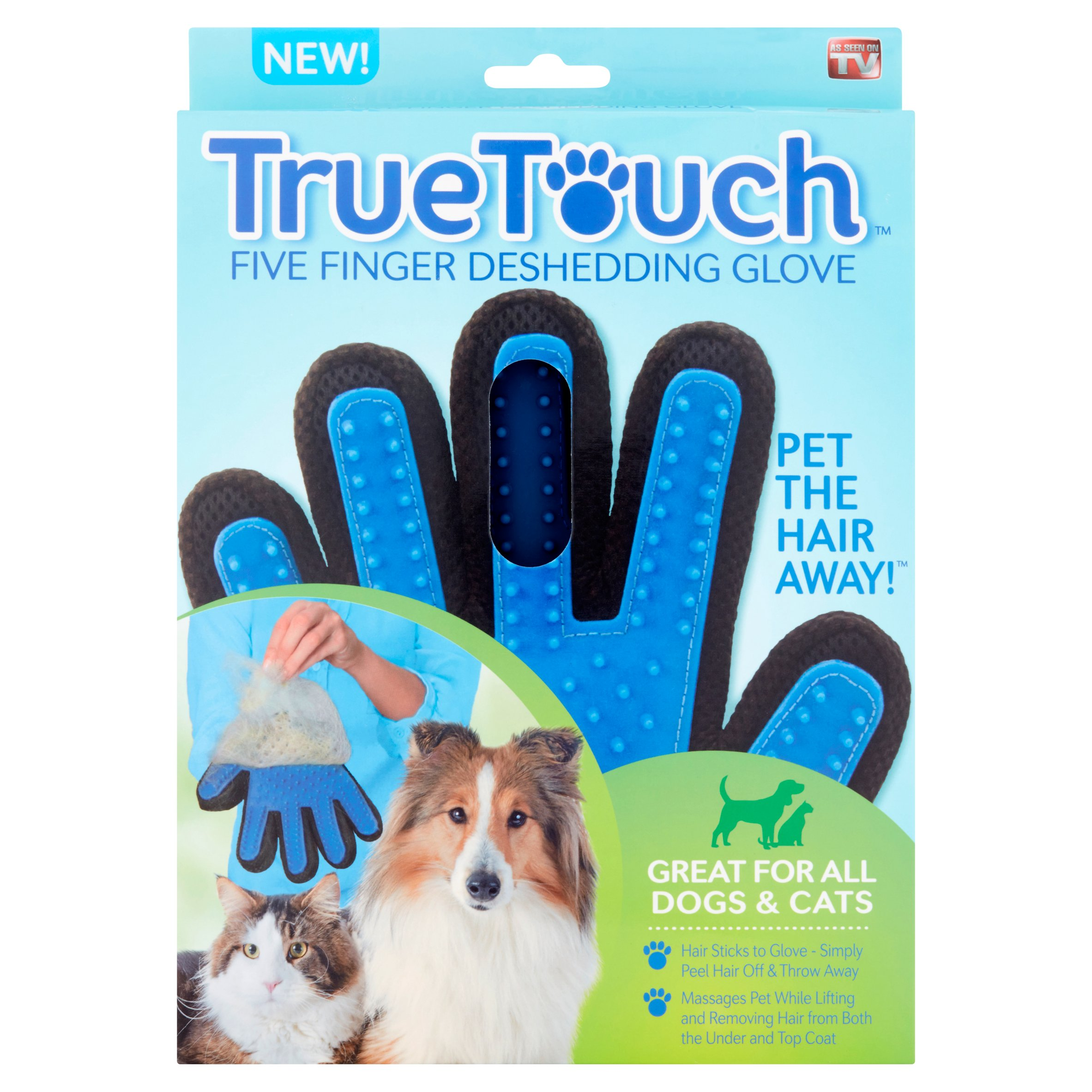 True Touch 5 Finger Deshedding Glove, for Easy Pet Grooming - As Seen on TV