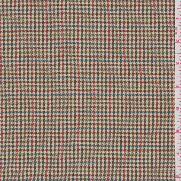 Tan Multi Plaid Suiting, Fabric By the Yard