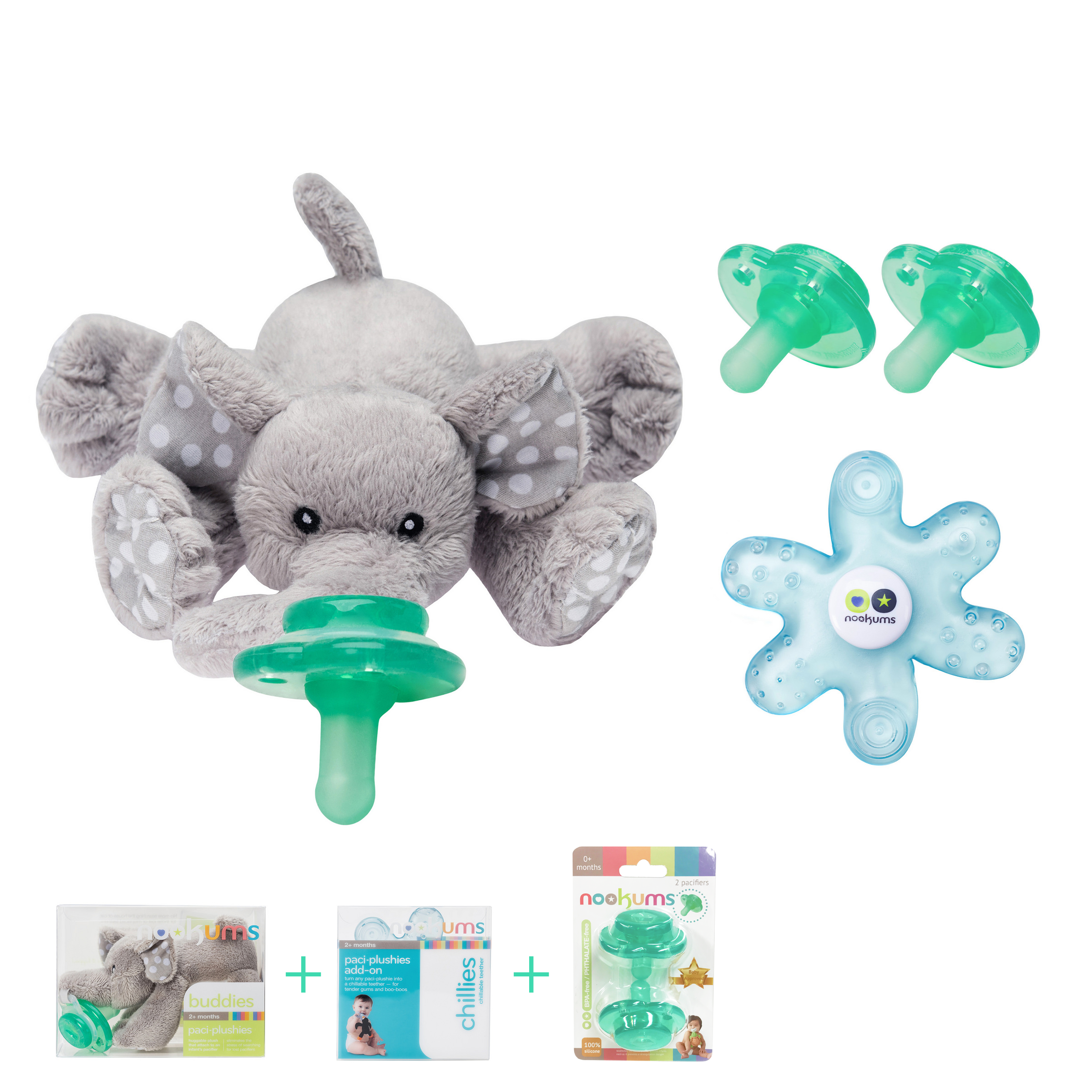 Nookums Paci Plushies Elephant Baby Gift Set Pacifier Holder Teether And Replacement Pacifier 2 Pack Plush Toy Includes Detachable Pacifier Use With Multiple Brand Name Pacifiers Walmart Com Walmart Com