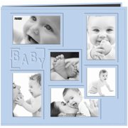"Sewn Embossed Collage Frame Post Bound Album 12""X12""-Baby - Blue"