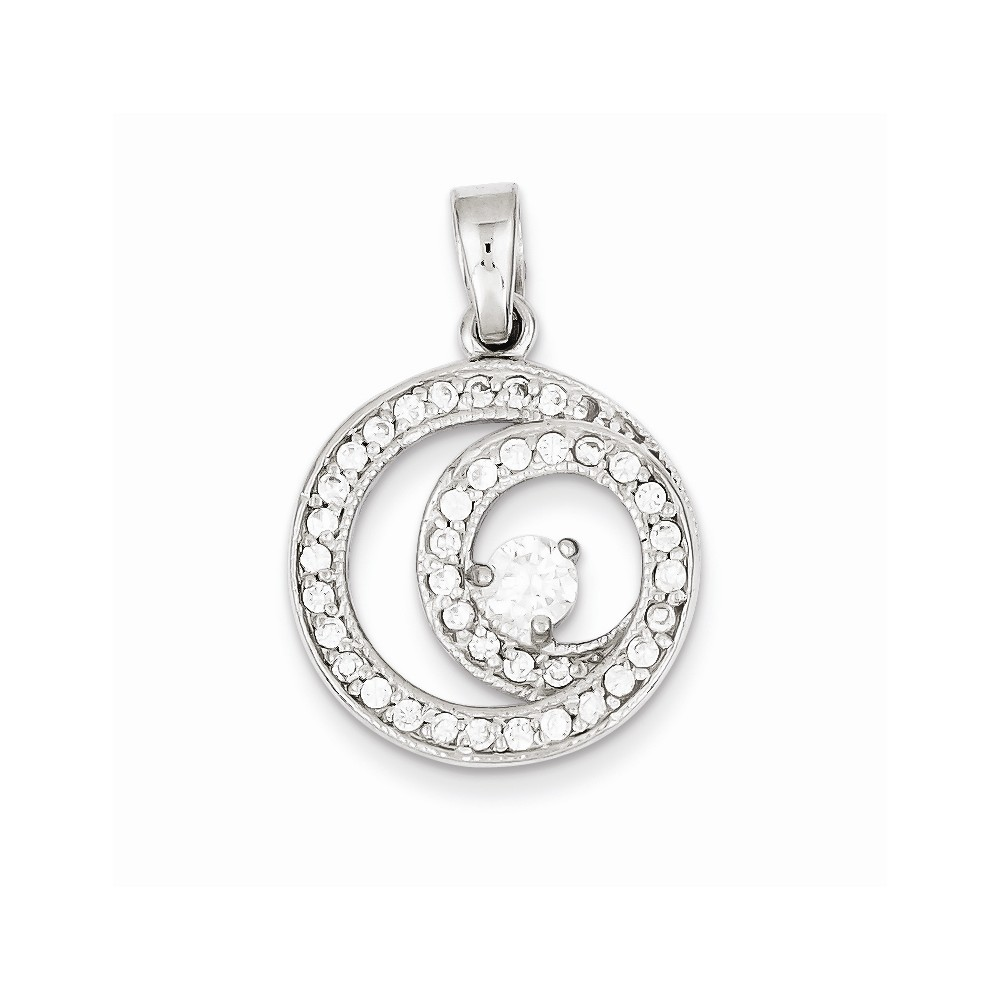 Sterling Silver Circle CZ Pendant