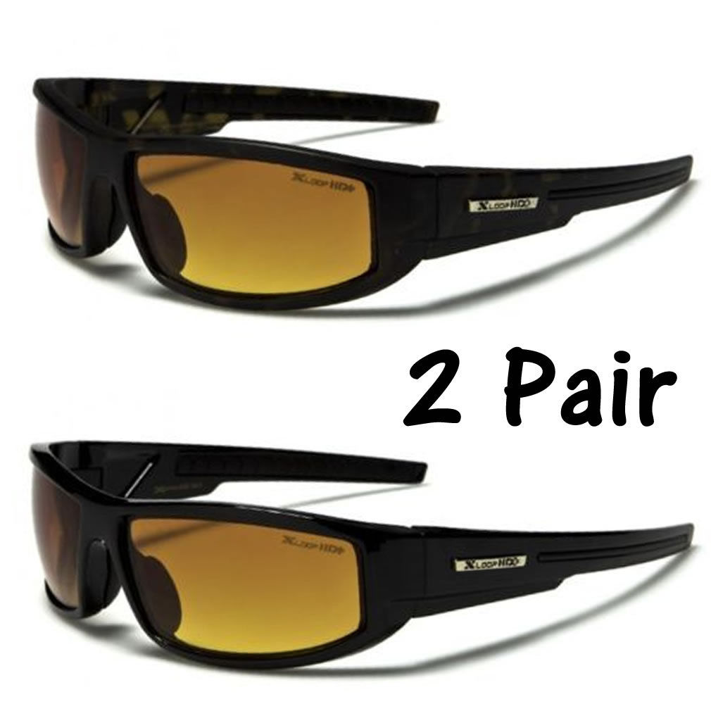 SPORT WRAP HD NIGHT DRIVING VISION SUNGLASSES PLASTIC HIGH DEFINITION GLASSES #L