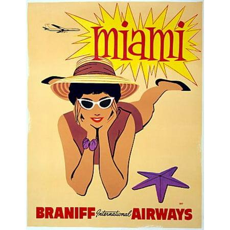 Miami Braniff International Airways Travel Canvas Art - (18 x 24)