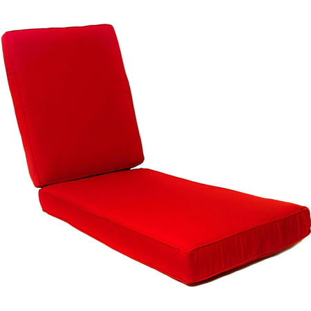 Sunbrella Canvas Jockey Red Long Outdoor Replacement Chaise Lounge Cushion W/ Piping By BBQGuys ()