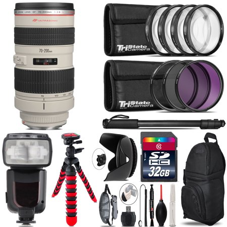 Canon EF 70-200mm 2.8L USM Lens + Professional Flash & More -32GB Accessory (Canon 70 200 F2 8 Price In India)