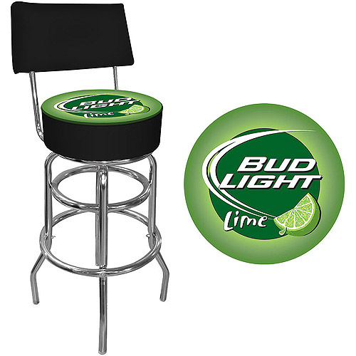 "Trademark Bud Light Lime 40"" Padded Bar Stool with Back, Chrome"