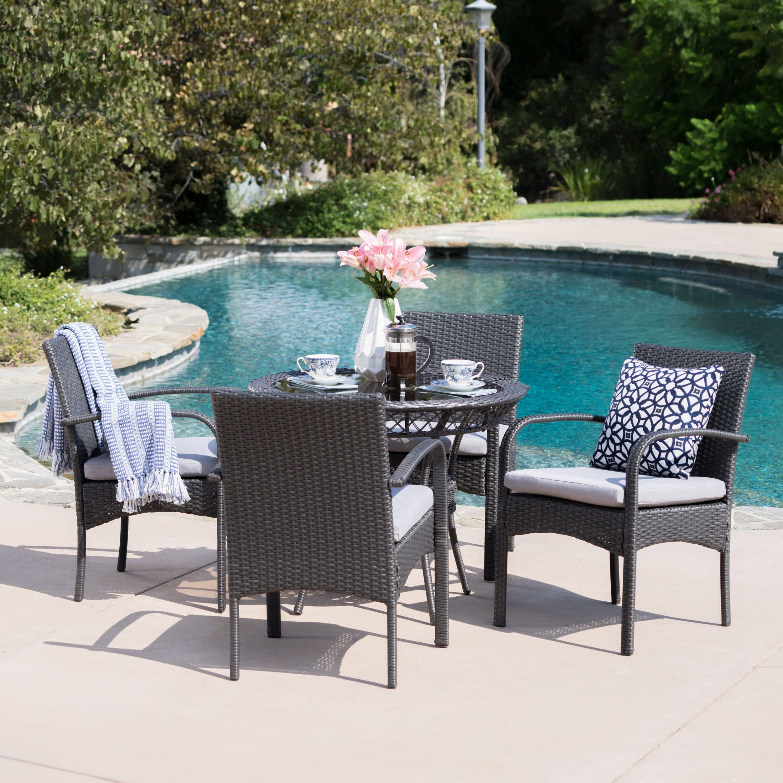 Christopher Knight Home Charles Outdoor 5-piece Wicker Dining Set with Cushions by