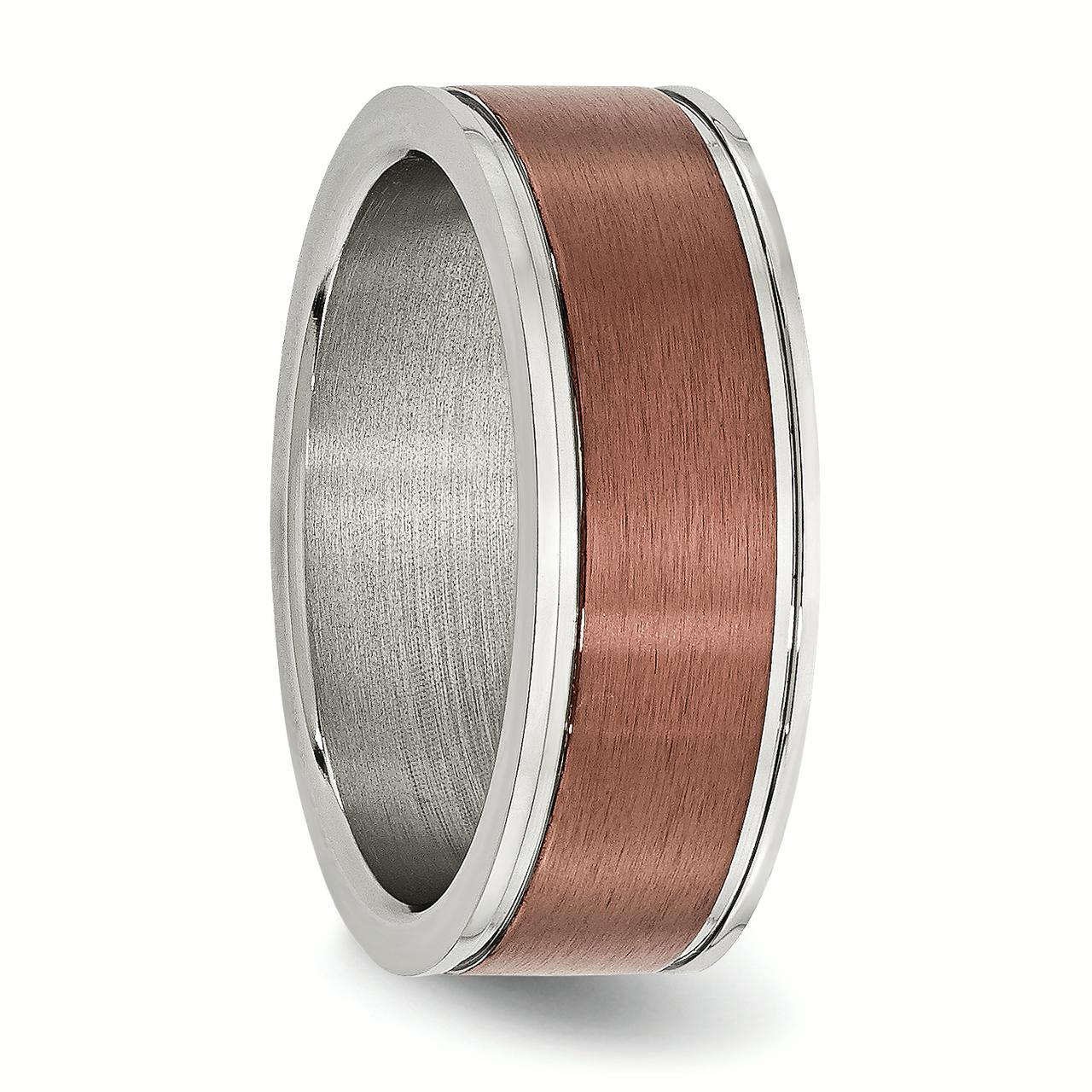 Stainless Steel 8mm Brown Plated Brushed Wedding Ring Band Size 13.00 Fancy Fashion Jewelry Gifts For Women For Her - image 5 de 6