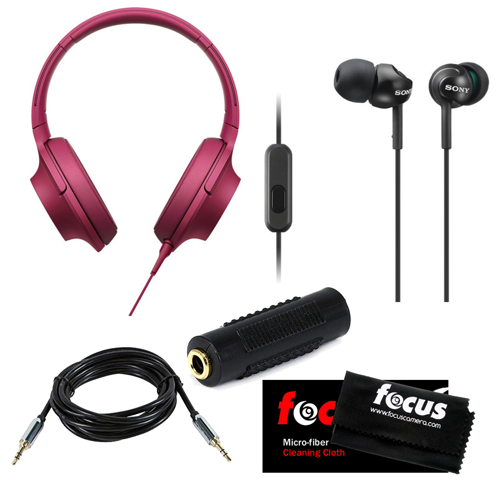 Sony MDR-100AAP h.ear on Stereo Headphones w/ Deep Bass Earphones & Micro Fiber Cleaning Cloth (Bordeaux Pink)