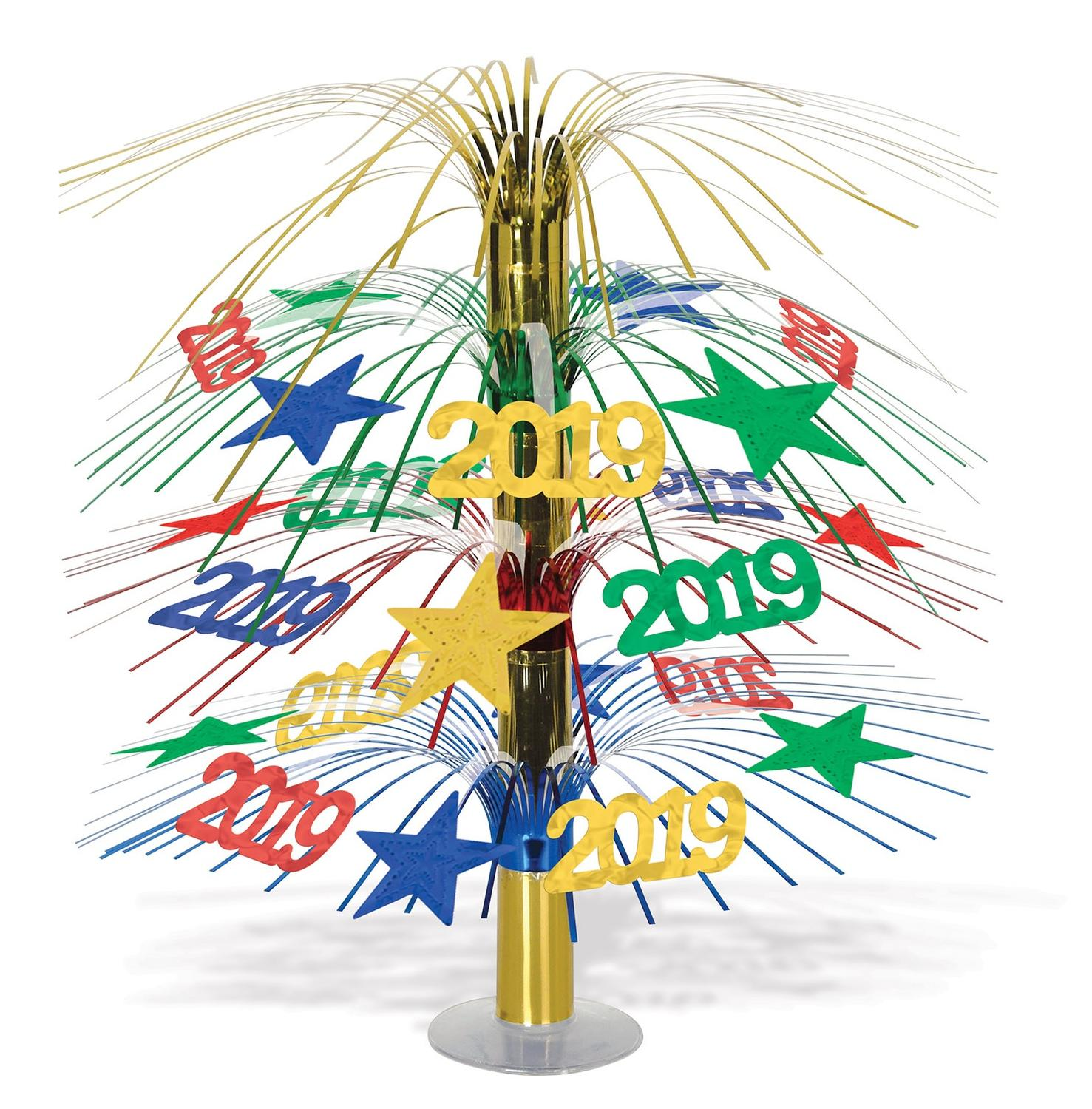 """Pack of 6 """"2019"""" Metallic Cascade New Year's Centerpiece Table Decorations 18"""""""