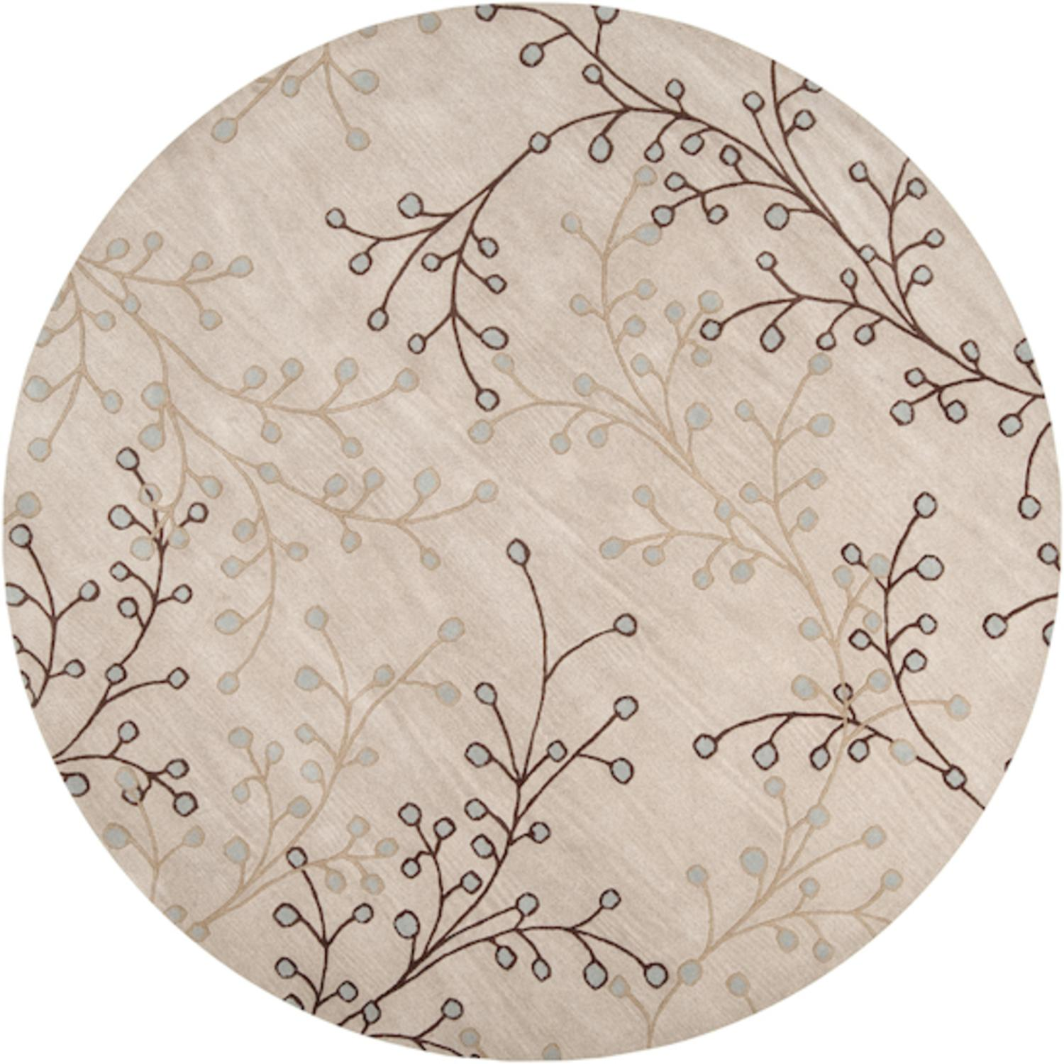 9.75' Fair Enoki Oyster Gray and Sepia Brown Wool Round Area Throw Rug