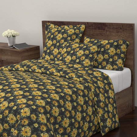 Vintage Gold Leaf Finish (Floral Vintage Style Yellow Dots Gold Black Boho Sateen Duvet Cover by Roostery )