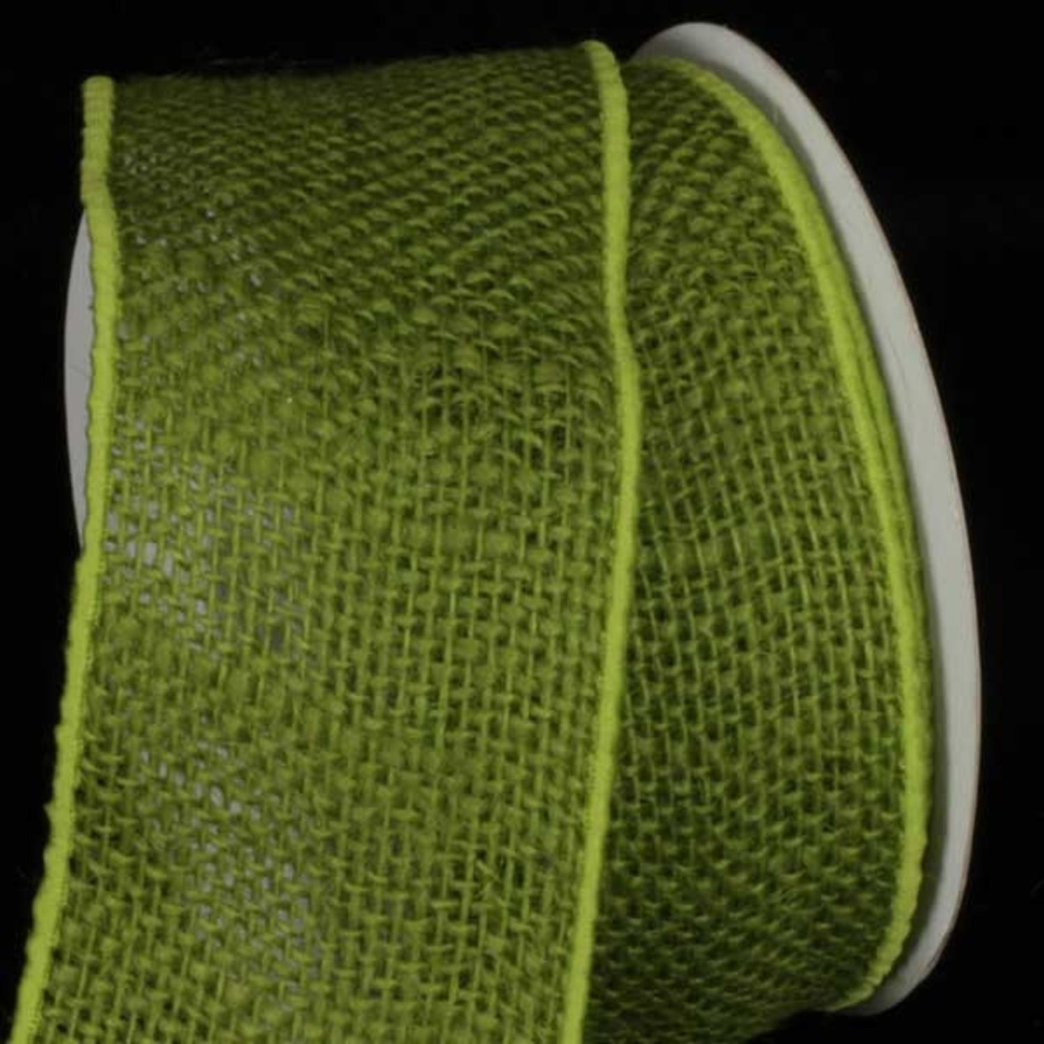 "Forest Green Burlap Wired Craft Ribbon 3"" x 20 Yards"